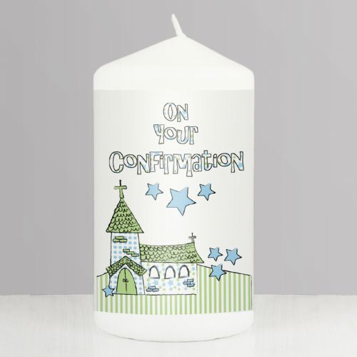 Blue Confirmation Church Candle - On Your Confirmation Gift Keepsake